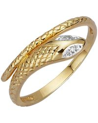 KLiNGEL Schlangen-Ring mit Diamant - Mettallic