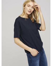 Tom Tailor Modal T-Shirt mit Tunnelzug - Blau