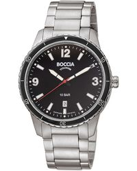 Boccia Herren-Armbanduhr Titan mit Saphirglas - Schwarz