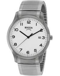 Boccia Titan-Herrenuhr mit Zugband Weiß