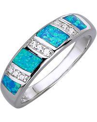 KLiNGEL Damenring mit synth. Opal - Blau