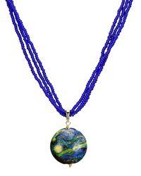 Diemer Gold Muranoglashanger Met Ketting - Blauw