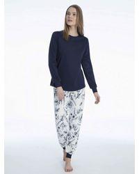 CALIDA Bündchen-Pyjama - Blau