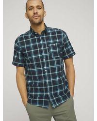 Tom Tailor Kariertes Kurzarmhemd - Blau