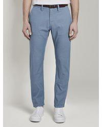 Tom Tailor Strukturierte Travis Slim Chino Hose mit Gürtel - Blau