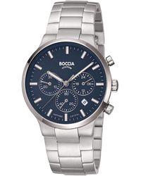 Boccia Herren-Armbanduhr Chronograph Titan - Blau