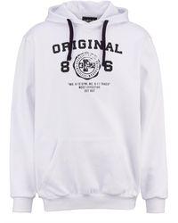 Men Plus - Kapuzensweatshirt Weiß::Schwarz - Lyst