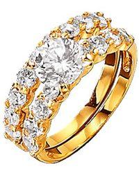 Golden Style 2tlg. Ring-Set mit Similisteinen Weiß