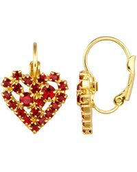 Golden Style Herz-Ohrringe - Rot