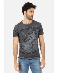 Goodyear T-Shirt VINCENT mit coolem Pin-Up-Motiv - Grau