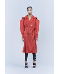 Koche Double-breasted Trench Coat With Belt - Red