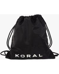 Koral Nylon Gym Cinch Bag - Black