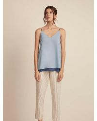 Krisa Double Layer V Cami - Blue