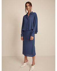 Krisa Bias Midi Skirt - Blue
