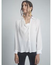 Krisa Draped Button Front - White