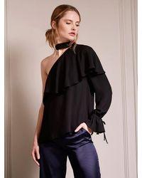Krisa Ruffle One Sleeve Turtleneck - Black