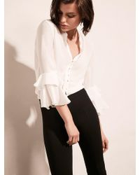Krisa - Ruffle 3/4 Sleeve Button Front - Lyst