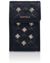 Carvela Kurt Geiger Gold Stud Quilted Phone Bag - Black