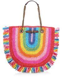 Kurt Geiger Rainbow Raffia Tote Bag - Multicolour