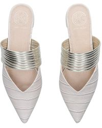 KG by Kurt Geiger Cream Croc Flat Mules - White