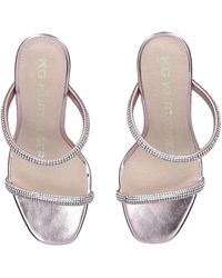 KG by Kurt Geiger - Rose Gold Embellished Fluted Heel Sandals - Lyst