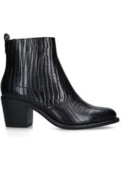 Carvela Kurt Geiger Spell Leather Block Heel Boots - Black