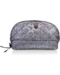 Kurt Geiger - Fabric Cosmetic Pouch In Silver - Lyst