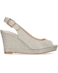 Nine West 'dionne' Mid Heel Wedge Sandals - Metallic