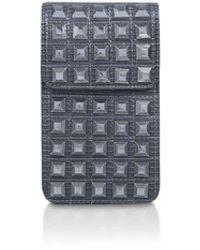 Carvela Kurt Geiger Lizard Print Studded Phone Bag - Grey