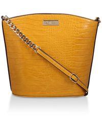 Carvela Kurt Geiger Mustard Croc Print Bucket Bag - Yellow