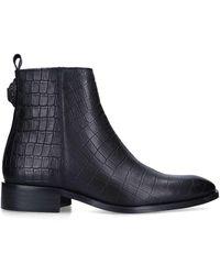 Kurt Geiger Croc Leather Boot - Black