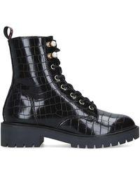 KG by Kurt Geiger Croc Print Biker Boots - Black