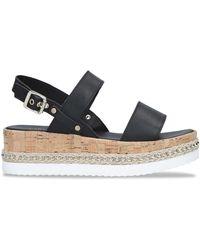 Carvela Kurt Geiger Leather Krash Flatform Sandals - Black