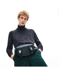 Lacoste Men's Altitude Grained Leather Zip Fanny Pack - One Size - Gray