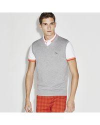 Lacoste Sport V-neck Jersey Sweater - Gray