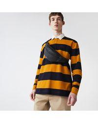 Lacoste Mens Soft Matte Grained Leather Zip Belt Bag - Black