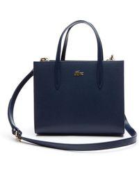 Lacoste - Chantaco Dual Carry Piqué Zip Leather Tote - Lyst