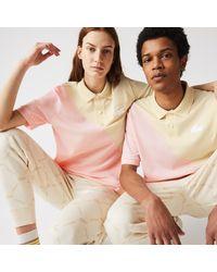Lacoste L!ive Lacoste Unisex Live Loose Fit Colorblock Polo - 3xl - Pink