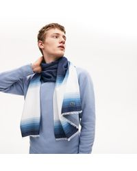 Lacoste Made In France Organic Cotton Ombré Scarf - One Size - Blue