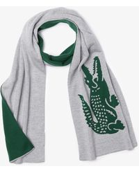 Lacoste Oversized Crocodile Rectangular Wool Scarf - One Size - Green