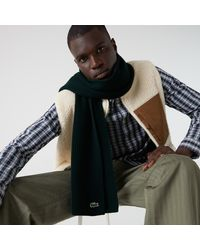 Lacoste Ribbed Rectangular Wool Scarf - Green