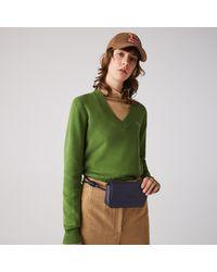 Lacoste Chantaco Matte Piqué Leather Flap Belt Bag - Blue