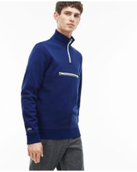 Lacoste - Fleece Zip Stand-up Collar Sweatshirt With Piping - Lyst