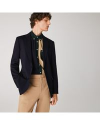 Lacoste Stretch Buttoned Straight Fit Blazer - Blue