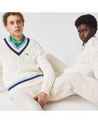 Lacoste V-neck Striped Finishes Cable Knit Jumper - White