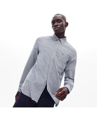 Lacoste Regular Fit Gingham Cotton Poplin Shirt - Blue