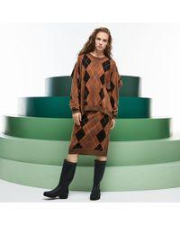 Lacoste - Fashion Show Argyle Wool Jacquard Asymmetrical Skirt - Lyst