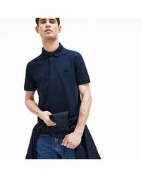 1868fa91ee Lacoste Regular Fit Stretch Cotton Paris Polo in Blue for Men - Save ...