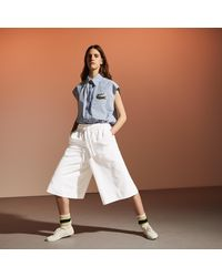 Lacoste Fashion Show Edition Elasticized Culotte Skirt - White