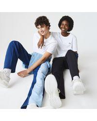 Lacoste L!ive Lacoste Unisex Live Inverse Croc Cotton T-shirt - S - Blue